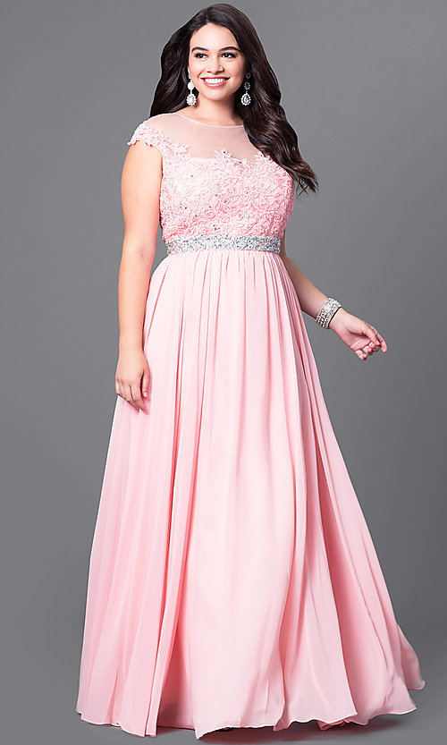 Image of cap-sleeve long plus-size prom dress with lace. Style: DQ-9400P Front Image