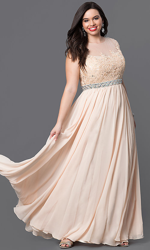 Image of cap-sleeve long plus-size prom dress with lace. Style: DQ-9400P Detail Image 5