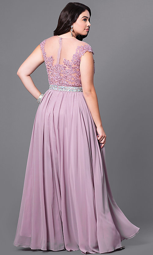 Image of cap-sleeve long plus-size prom dress with lace. Style: DQ-9400P Back Image