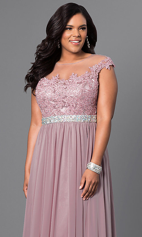 Image of cap-sleeve long plus-size prom dress with lace. Style: DQ-9400P Detail Image 3