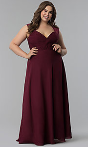 Image of ruched-bodice plus-size prom dress by Elizabeth K. Style: FB-GL1376Pp Detail Image 2