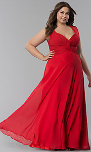 Image of ruched-bodice plus-size prom dress by Elizabeth K. Style: FB-GL1376Pp Front Image