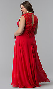 Image of ruched-bodice plus-size prom dress by Elizabeth K. Style: FB-GL1376Pp Back Image