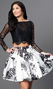 Image of two-piece long-sleeve print party dress by Blush. Style: BL-PG012 Front Image