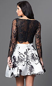 Image of two-piece long-sleeve print party dress by Blush. Style: BL-PG012 Back Image