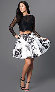 Image of two-piece long-sleeve print party dress by Blush. Style: BL-PG012 Detail Image 1