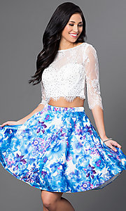 Two Piece 3/4 Sleeve Lace Top with Floral Skirt