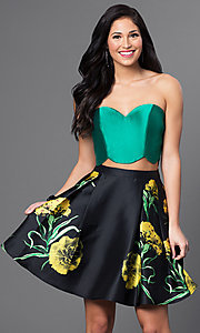 Two Piece Strapless Floral Print Skirt