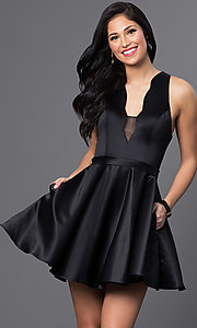 Image of Blush Exclusive short black v-neck homecoming dress. Style: BL-PG018 Front Image