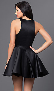 Image of Blush Exclusive short black v-neck homecoming dress. Style: BL-PG018 Back Image