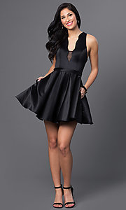 Image of Blush Exclusive short black v-neck homecoming dress. Style: BL-PG018 Detail Image 1