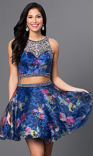 Two Piece Jewel Embellished Floral Print Dress