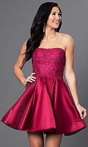 Image of wine red short Blush Exclusive homecoming dress. Style: BL-PG025 Front Image
