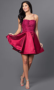Image of wine red short Blush Exclusive homecoming dress. Style: BL-PG025 Detail Image 3