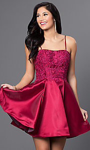 Image of wine red short Blush Exclusive homecoming dress. Style: BL-PG025 Detail Image 2