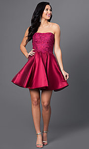 Image of wine red short Blush Exclusive homecoming dress. Style: BL-PG025 Detail Image 1