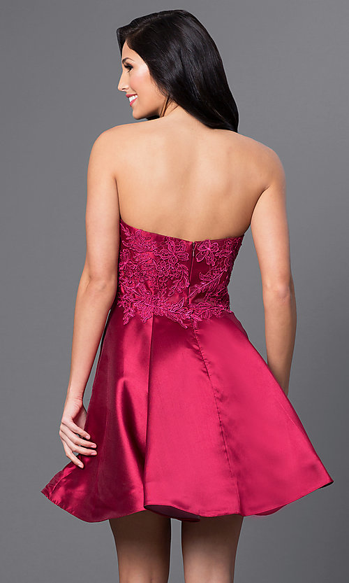 Image of wine red short Blush Exclusive homecoming dress. Style: BL-PG025 Back Image
