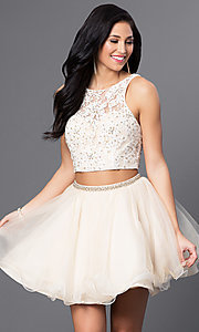 Image of white and nude two-piece Blush homecoming dress. Style: BL-PG028 Front Image