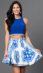 Two Piece Embellished Waist Print Dress