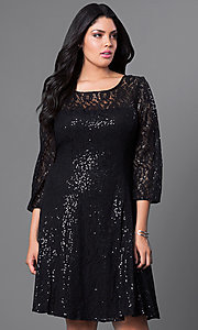 Black Knee-Length Lace Plus-Size Dress