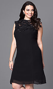 Knee Length Party Dress with Lace Applique Neckline