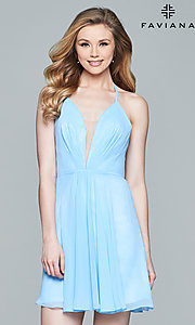 Image of Faviana homecoming dress with lace-up open back. Style: FA-7851 Detail Image 2