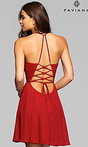 Image of Faviana homecoming dress with lace-up open back. Style: FA-7851 Back Image