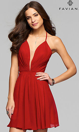 Faviana Homecoming Dress with Lace-Up Open Back