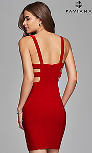 Image of v-neck short jersey homecoming dress. Style: FA-7852 Back Image