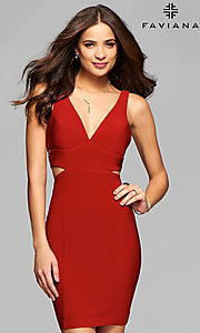Image of v-neck short jersey homecoming dress. Style: FA-7852 Detail Image 1