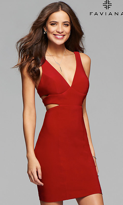 Image of v-neck short jersey homecoming dress. Style: FA-7852 Front Image