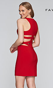 Image of short sleeveless dress with side and back cut-outs. Style: FA-7853 Detail Image 5