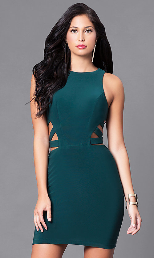 Image of short sleeveless dress with side and back cut-outs. Style: FA-7853 Detail Image 3