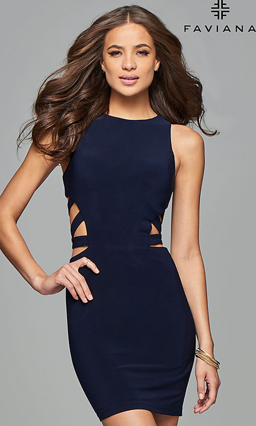 Image of short sleeveless dress with side and back cut-outs. Style: FA-7853 Front Image