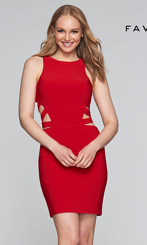 Image of short sleeveless dress with side and back cut-outs. Style: FA-7853 Detail Image 4
