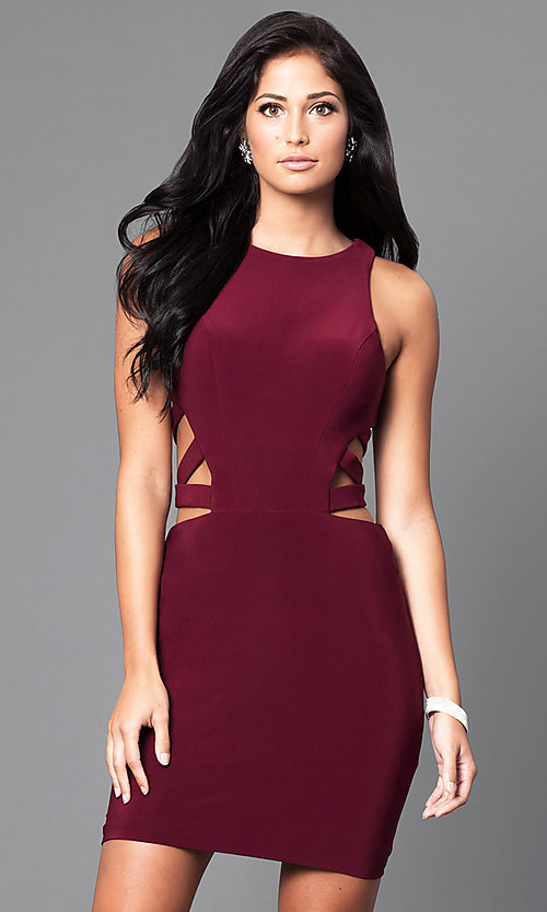 Image of short sleeveless dress with side and back cut-outs. Style: FA-7853 Detail Image 1