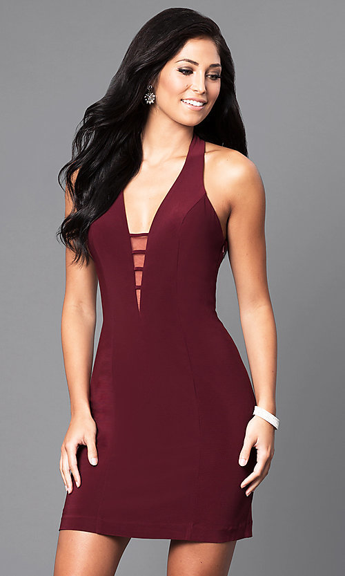 Image of sleeveless v-neck Faviana short homecoming dress. Style: FA-7854 Detail Image 1