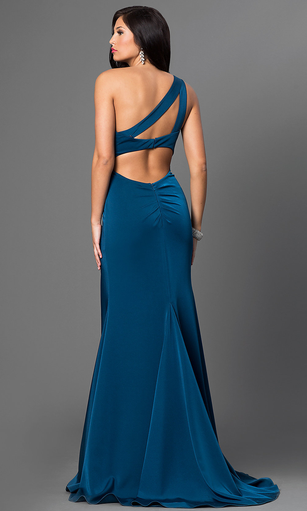Long One-Shoulder Prom Dress with Train - PromGirl