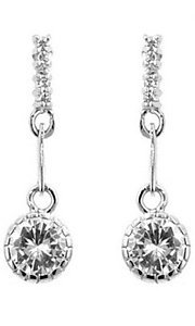 Round Cubic Zirconia Silver Drop Earrings