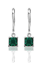 Emerald Green Cubic Zirconia Square Drop Earrings