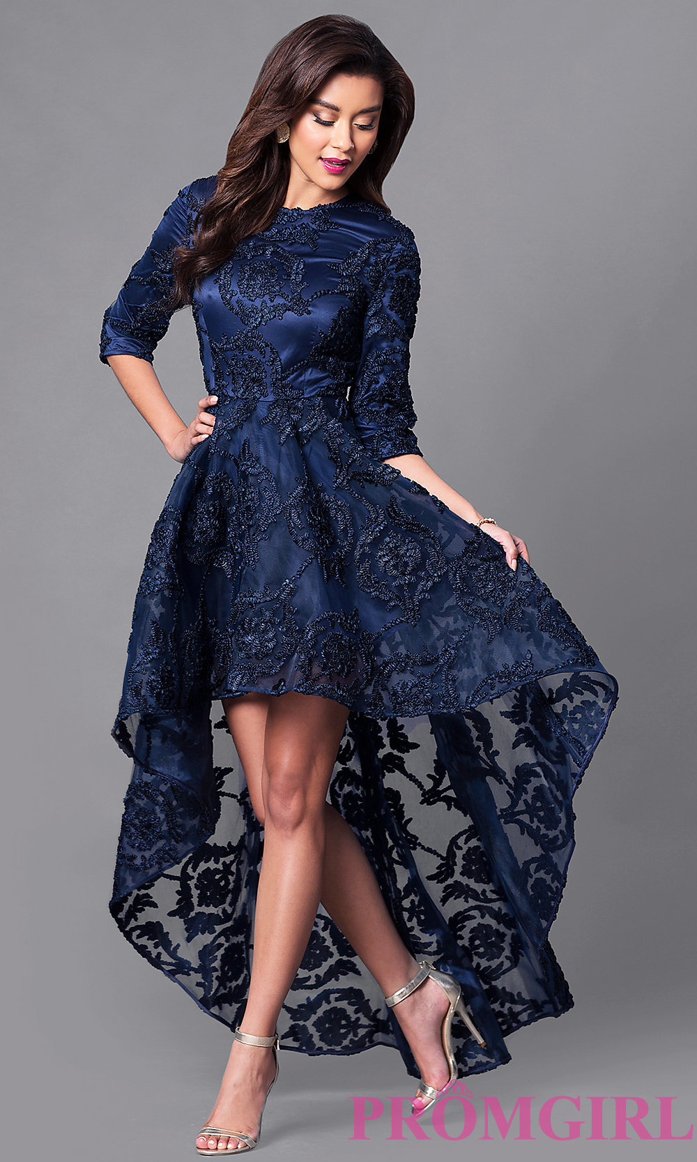 sleeved high low lace semi formal dress promgirl
