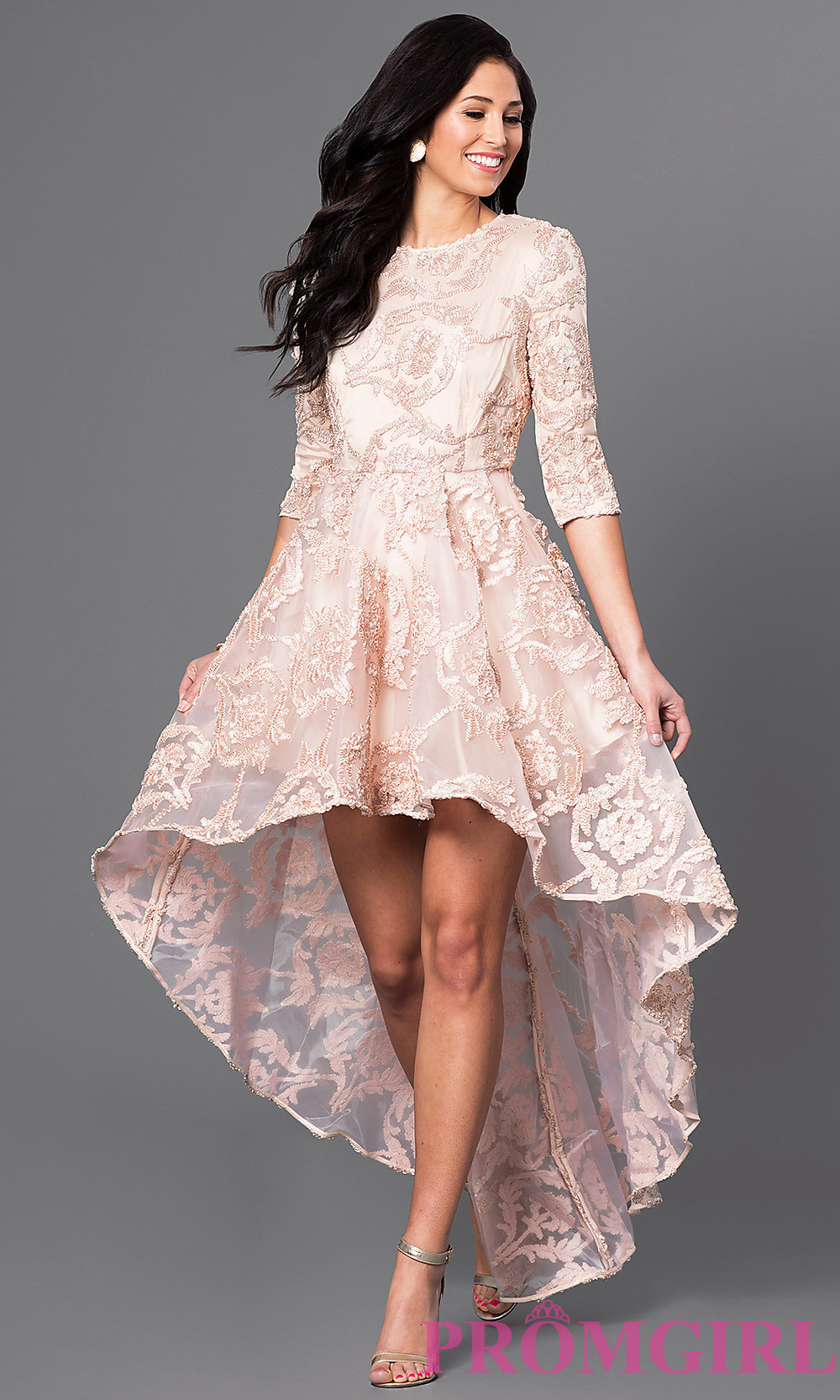 Sleeved High-Low Lace Semi-Formal Dress - PromGirl
