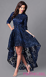Image of high-low lace party dress with three-quarter sleeves. Style: CQ-5779DW Detail Image 1
