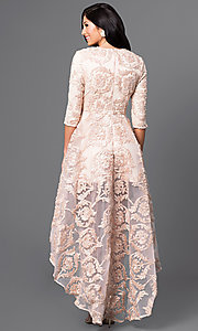 Image of high-low lace party dress with three-quarter sleeves. Style: CQ-5779DW Back Image