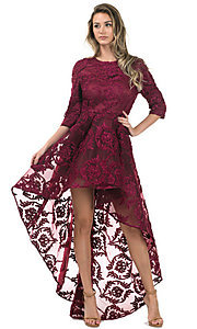High-Low Lace Party Dress with Three-Quarter Sleeves