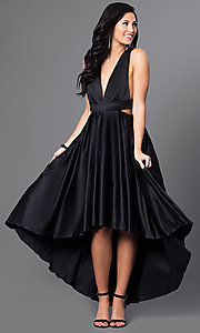 Image of high-low black satin v-neck homecoming dress. Style: CQ-4395DW Front Image