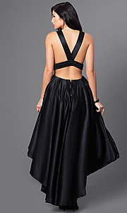 Image of high-low black satin v-neck homecoming dress. Style: CQ-4395DW Back Image
