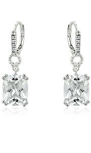 Square Cut Cubic Zirconia Drop Earrings
