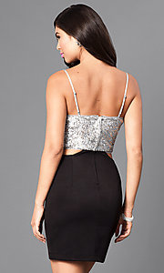 Image of mock two-piece homecoming party dress with sequins. Style: EM-ELE-2394-060 Back Image