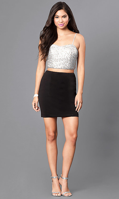 Image of mock two-piece homecoming party dress with sequins. Style: EM-ELE-2394-060 Detail Image 1